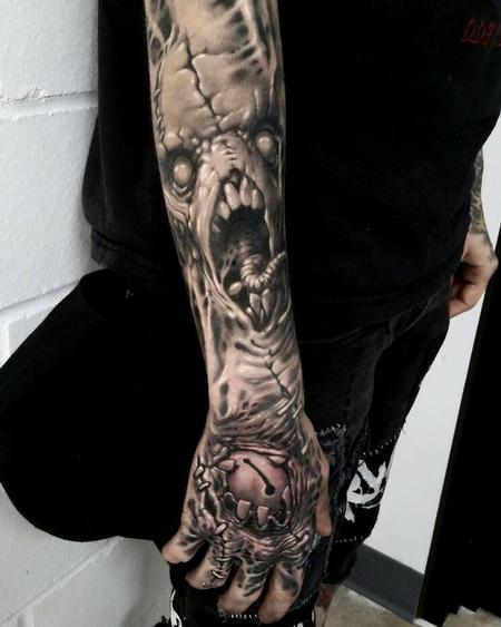 Toxyc  - freehand black and grey sleeve in progress